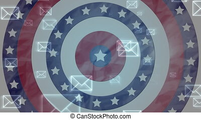 Animation of multiple envelopes over circles with American flag spinning in the background. Postal voting elections in Covid 19 pandemic concept digitally generated image.