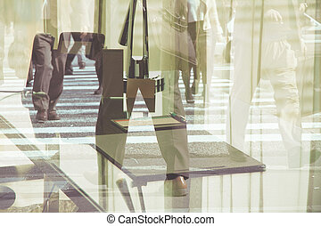 Multiple exposure image of business