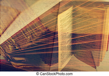 a multiple exposure of some pictures of open books