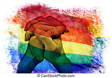 multiple exposures of the rainbow flag and the clasped hands...