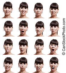 Multiple close-up portraits of the same woman in different emotions and expressions