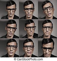 Multiple fashion and fancy male portraits - Multiple fashion...