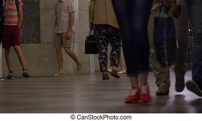 Multiple feet in crowdy Moscow metro 4K video - People feet...