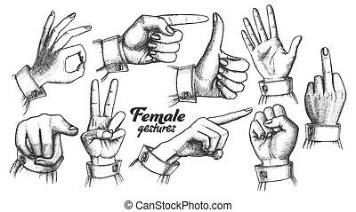 Multiple Female Caucasian Hand Gesture Set Vector