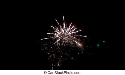 Multiple fireworks explosion new year,