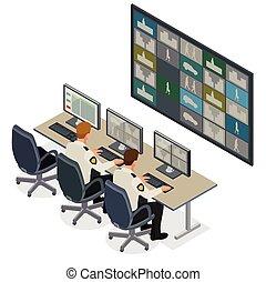 multiple, garde, 3d, system., vecteur, vidéo, contrôle, regarder, contrôler, équipe, isométrique, illustration, sécurité, plat, surveillance, footage., concept., salle, cctv