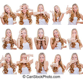multiple gestures or signs - woman with different facial ...