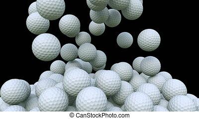 Multiple golf balls falling down, alpha matte for easy...