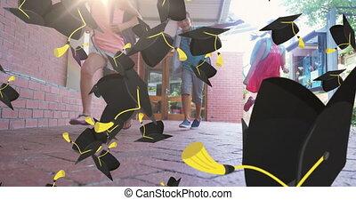 Multiple graduation hat icons falling against group of kids running in school corridor
