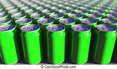 Multiple green aluminum cans, shallow focus. Soft drinks or beer production. Recycling packaging. 4K seamless loop dolly clip, ProRes