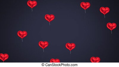 Animation of multiple heart shaped balloons floating against black background. Global social media network concept digitally generated image.