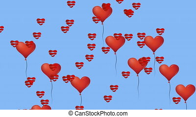Animation of multiple red heart balloons flying over blue background. Valentines Day celebration fun entertainment concept digitally generated image.