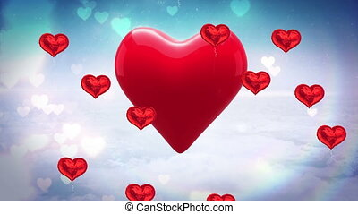 Animation of heart shaped balloons floating against blue sky in the background. Global social media network concept digitally generated image.