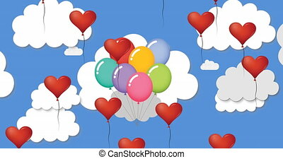 Animation of multiple heart shaped and multi coloured balloons floating against blue sky and clouds. Happy Valentines Day celebration concept digitally generated image.