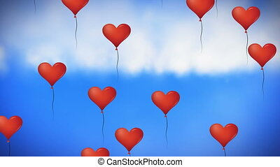 Animation of multiple heart shaped balloons floating against blue sky in the background. Global social media network concept digitally generated image.