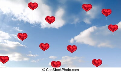 Animation of multiple heart shaped balloons floating against blue sky with clouds in the background. Global social media network concept digitally generated image.
