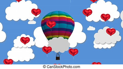Animation of multiple heart shaped balloons floating against hot air balloon in blue sky in the background. Happy Valentines Day celebration concept digitally generated image.