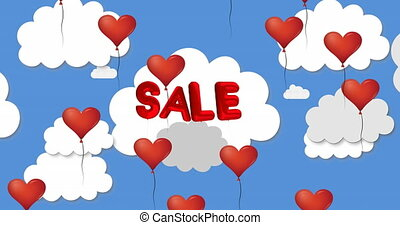 Animation of multiple heart shaped balloons floating against Sale text on blue sky and clouds. Happy Valentines Day celebration concept digitally generated image.