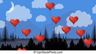 Animation of multiple heart shaped balloons floating against countryside landscape with mountains and blue sky in the background. Happy Valentines Day celebration concept digitally generated image.