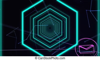 Digital animation of Multiple hexagons moving over Network of digital icons against black background. Global networking and connection concept