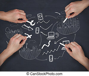 multiple, image composée, écriture, craie, mains, idée génie