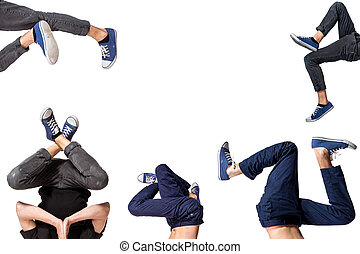 Multiple image of young man break dancing over white...