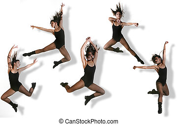 Multiple Images of a Modern Dancer Striking Various Poses...