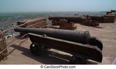 Multiple Kilkila cannons. - Point at city view of Jodhpur....