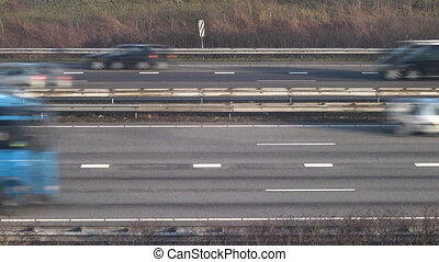 Multiple Lanes - Traffic driving past on a busy motorway
