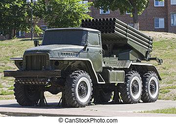 multiple-launch, raket, system, utrustning, militär, grad, ...