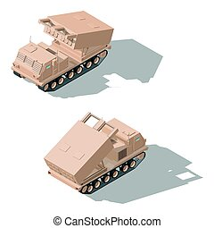Multiple launch rocket system isometric icon set vector...