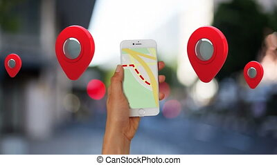 Animation of woman using using smartphone with map on screen with multiple red locations pins. Global online network digital interface technology concept digitally generated image.