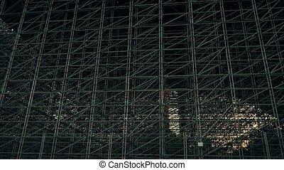 Multiple metal scaffolding zoom in video - Steel scaffolding...