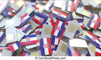 multiple, mobile, croatia., cartes, drapeau, animation, conceptuel, croate, télécommunications, sim, 3d