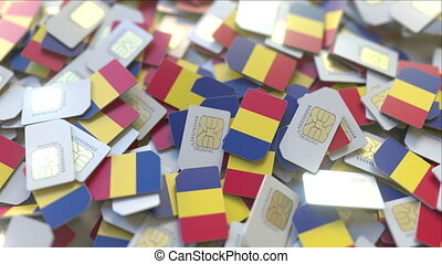 multiple, mobile, romanain, cartes, drapeau, animation, romania., conceptuel, télécommunications, sim, 3d