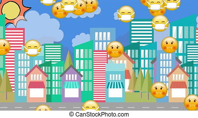 Animation of Multiple nauseated and face mask Emoji floating over cityscape on blue background. Global coronavirus Covid 19 pandemic concept digitally generated image.