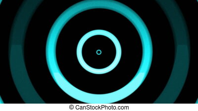 Animation of multiple colourful neon circles spinning and moving on changing background. Colour light movement concept digitally generated image.