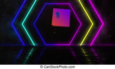 Multiple neon hexagon shapes moving against black background