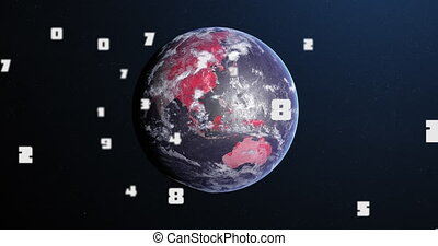 Animation of Covid 19 coronavirus number of cases increasing over planet Earth with continents turning red on dark blue background. Global Covid 19 pandemic concept digitally generated image.