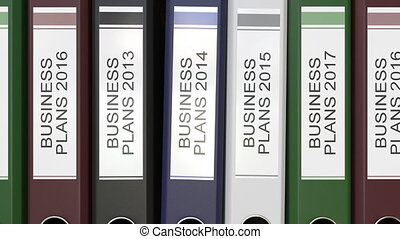 Multiple office folders with Business plans text labels 3D rendering different years