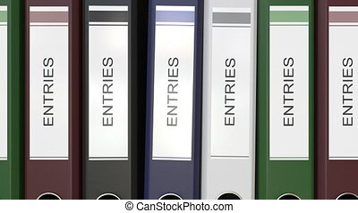 Multiple office folders with Entries text labels 3D rendering