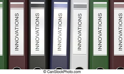 Multiple office folders with Innovations text labels 3D rendering