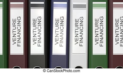 Multiple office folders with Venture financing text labels...