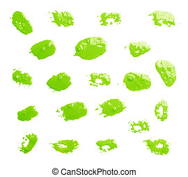 Set of multiple oil paint spot prints of a brush isolated over the white background