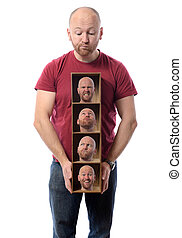 multiple personalities - Man choosing Many faces concept...