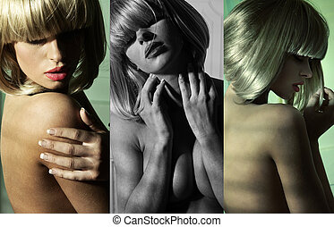 Multiple picture of a nude woman
