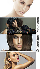 Multiple portrait of four attractive ladies