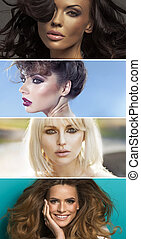 Multiple portrait of four sensual women - Multiple portrait...