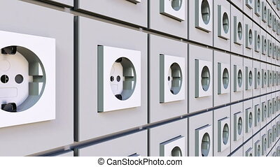 Multiple power sockets on the wall. Loopable motion background