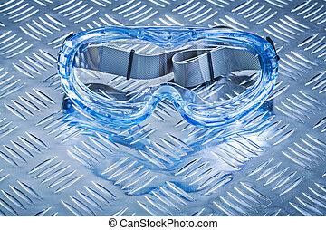 multiple-purpose, metal, wyżłobił, constructio, okulary ochronne, tło